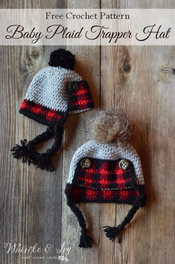 Crochet Baby Plaid Trapper Hat Free Crochet Pattern Whistle And Ivy