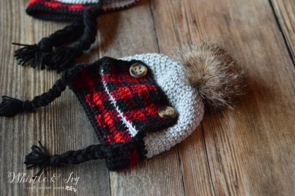 61eac6aac6ac3 Crochet Baby Plaid Trapper Hat - Free Crochet Pattern - Whistle and Ivy