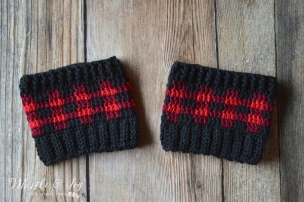 Crochet Plaid Boot Cuffs - Whistle and Ivy