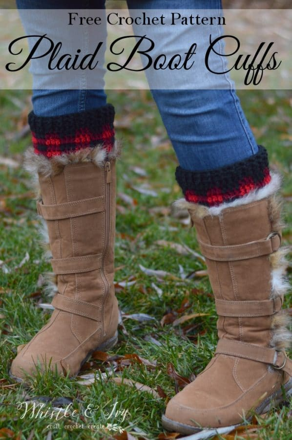 Crochet Plaid Boot Cuffs Free Crochet Pattern Whistle And Ivy