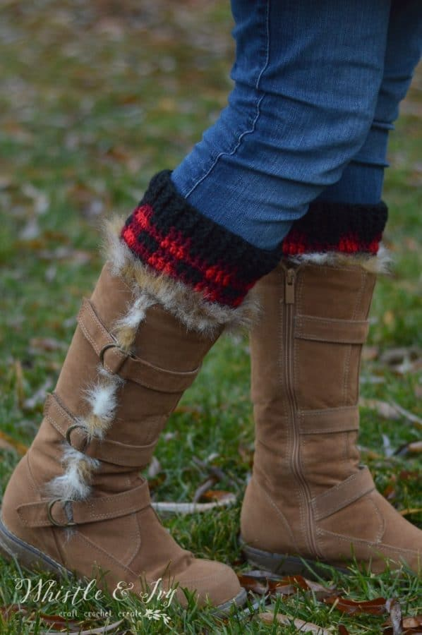FREE Crochet Pattern: Crochet Plaid Boot Cuffs | These cozy boot cuffs have a trendy buffalo plaid pattern and go perfect with any pair of boots!