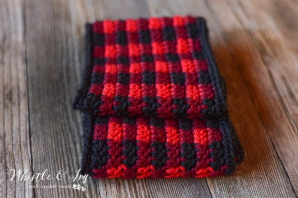 plaid infinity scarf crochet pattern