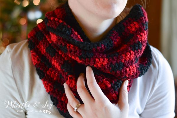 plaid infinity scarf free crochet pattern