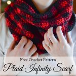 Crochet Plaid Infinity Scarf