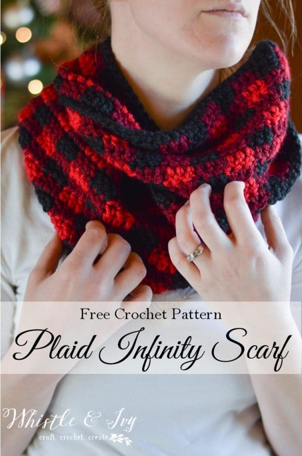 Crochet Plaid Infinity Scarf - Whistle and Ivy