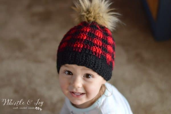Toddler And Child Crochet Plaid Hat Free Crochet Patter Whistle