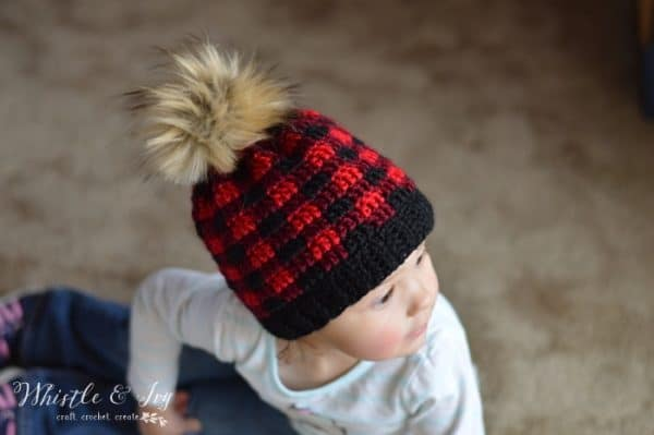 crochet buffalo technique hat for kids free crochet pattern red and black buffalo plaid hat