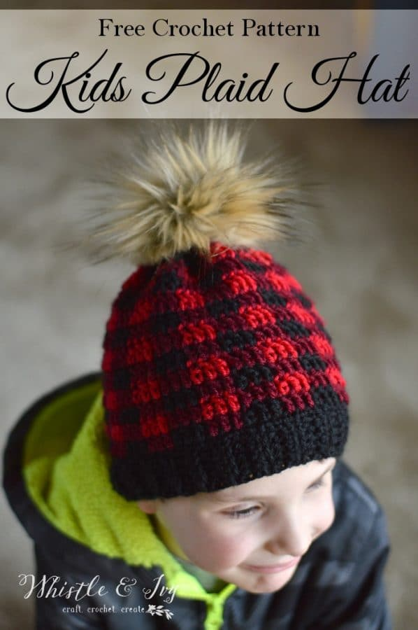 Toddler And Child Crochet Plaid Hat Free Crochet Pattern Whistle