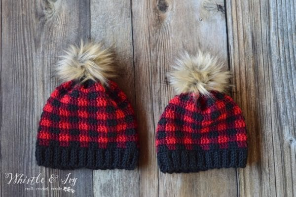 Toddler and Child Crochet Plaid Hat - Whistle and Ivy