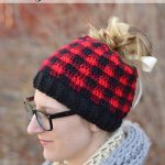Messy Bun Plaid Hat