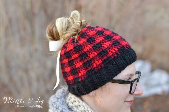 Crochet Hat Messy Bun
