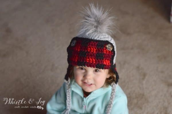 Toddler Plaid Trapper Hat - Free Crochet Pattern - Whistle and Ivy 03360efcb26