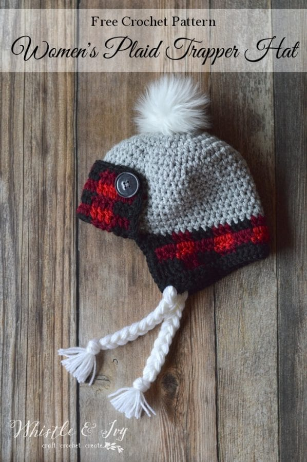 FREE Crochet Pattern: Women's Crochet Plaid Trapper Hat | This cozy buffalo plaid hat is worked with two strands so it's very warm and cozy!
