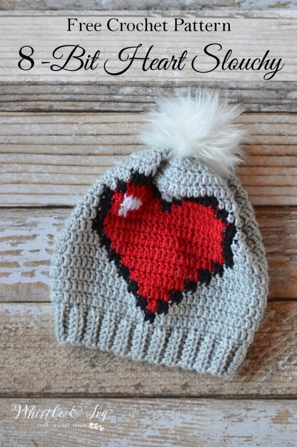 Crochet 8 Bit Heart Slouchy Whistle And Ivy