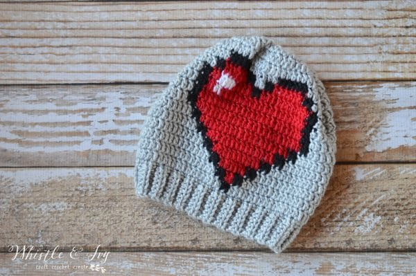 Crochet 8-Bit Heart Slouchy - Whistle and Ivy