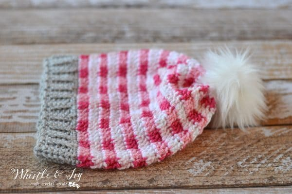 pink gingham hat with white fur pom-pom free crochet pattern