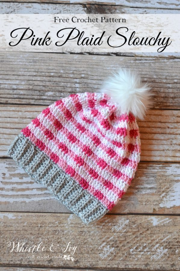 FREE Crochet Pattern: Pink Crochet Plaid Slouchy | Make this gorgeous plaid hat in 4 pretty colors for a beautiful color effect.