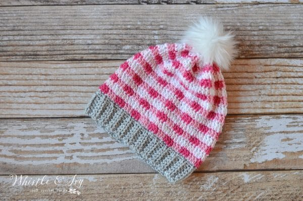 Pink Crochet Plaid Slouchy Whistle And Ivy