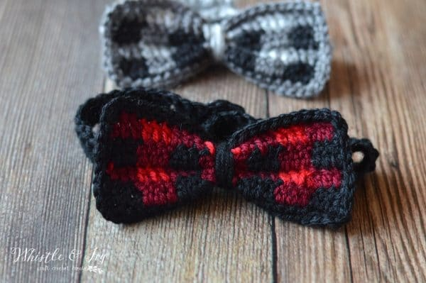 FREE Crochet Pattern: Kid's Crochet Plaid Bow Tie | Make your dapper guy this trendy buffalo plaid bow tie! Perfect for all occasions.