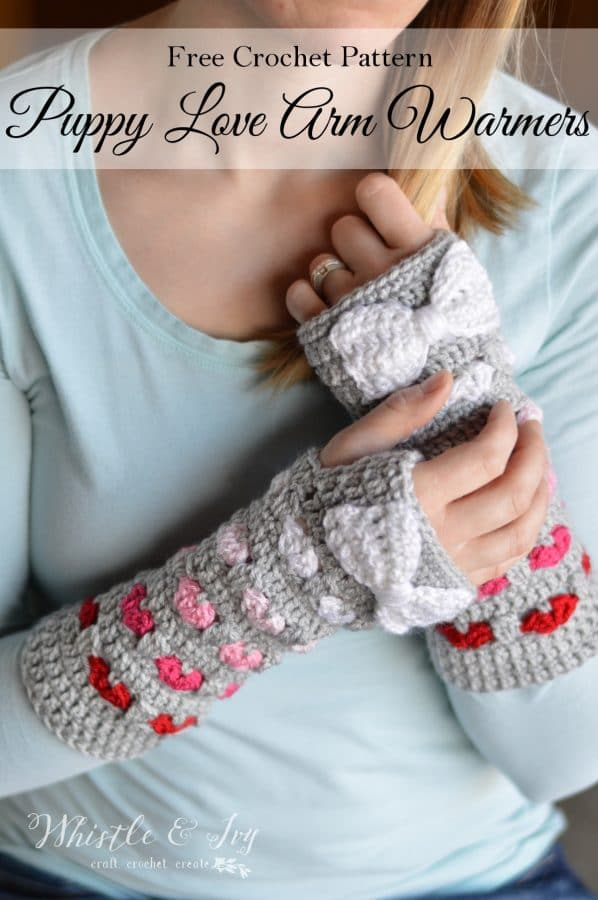 free crochet pattern for heart stitch crochet arm warmers