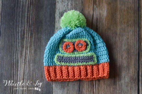 FREE Crochet Pattern: Kid's Robot Hat | Make this cute robot-themed hat for your child! Perfect for ages 4-10.