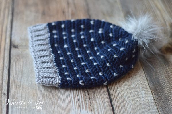 """FREE Crochet Pattern: Crochet Snowfall Slouchy Hat   Make this lovely hat with beautiful """"snowfall"""" detail that looks like knit! Perfect for wintertime."""