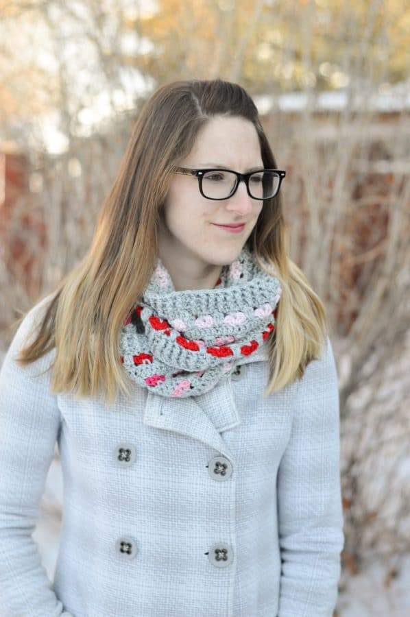 FREE Crochet Pattern: Puppy Love Infinity Scarf | Love is in the air with this cozy and comfortable crochet heart motif infinity scarf!
