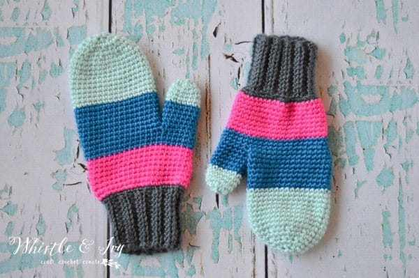 FREE Crochet Pattern: Crochet Color Block Mittens | These cozy and trendy mittens are made easily with 3 blocks of bright color.