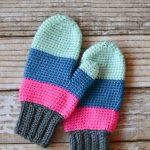 Crochet Color Block Mittens
