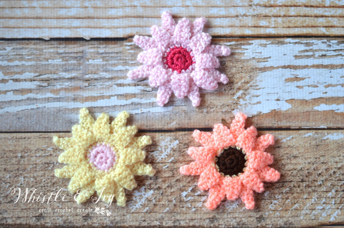 Crochet Gerbera Daisies Pattern - Whistle and Ivy
