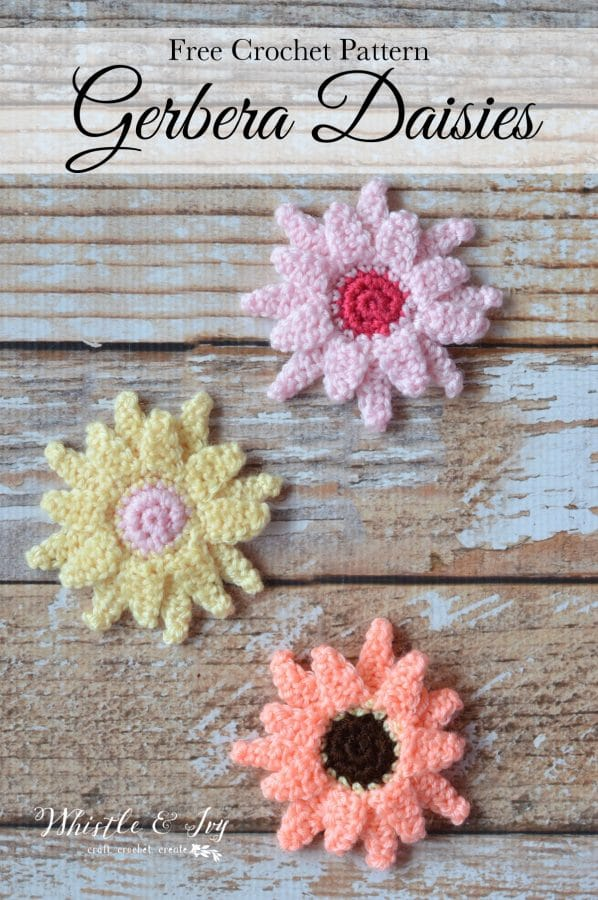 FREE Crochet Pattern: Crochet Gerbera Daisies | Bring a bright pop of springtime into your home with these pretty, colorful flowers.