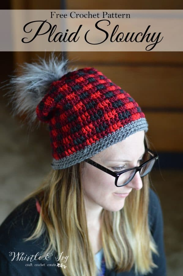 FREE Crochet Pattern: Top-Down Crochet Plaid Hat | Make this pretty and trendy buffalo plaid hat in the round! Video help included.