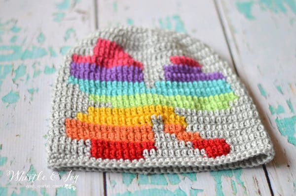 FREE Crochet Pattern: Crochet Rainbow Shamrock Slouchy | Use simple graph techniques to make this fun, bright colored slouchy