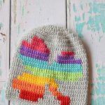 Women Crochet Rainbow Shamrock Slouchy