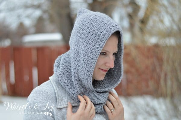 Women's Crochet Hooded Cowl Whistle and Ivy Delectable Hooded Cowl Pattern