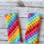 Crochet Rainbow C2C Arm Warmers