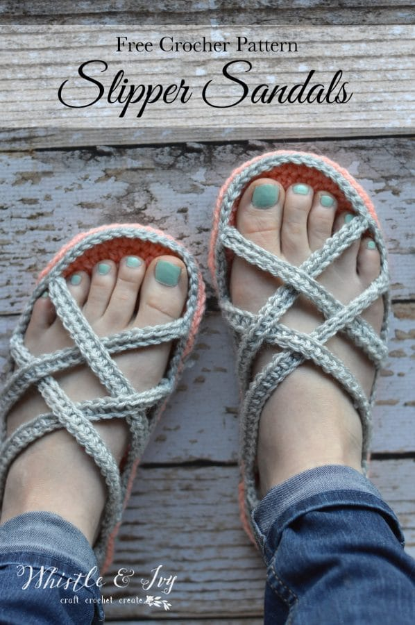 Womens Crochet Slipper Sandals Whistle And Ivy