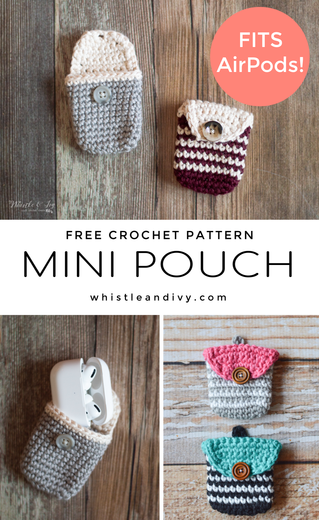 free crochet pattern crochet coin purse crochet AirPods pouch