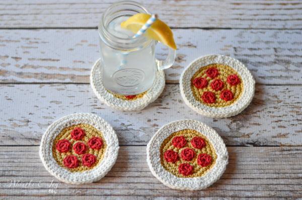 free crochet pattern pizza coasters