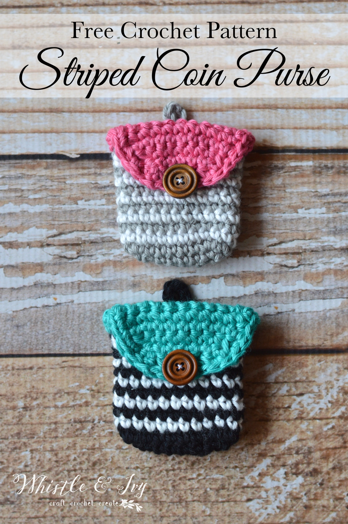 Free Crochet Shell Purse Pattern : Crochet Striped Coin Purse - Whistle and Ivy