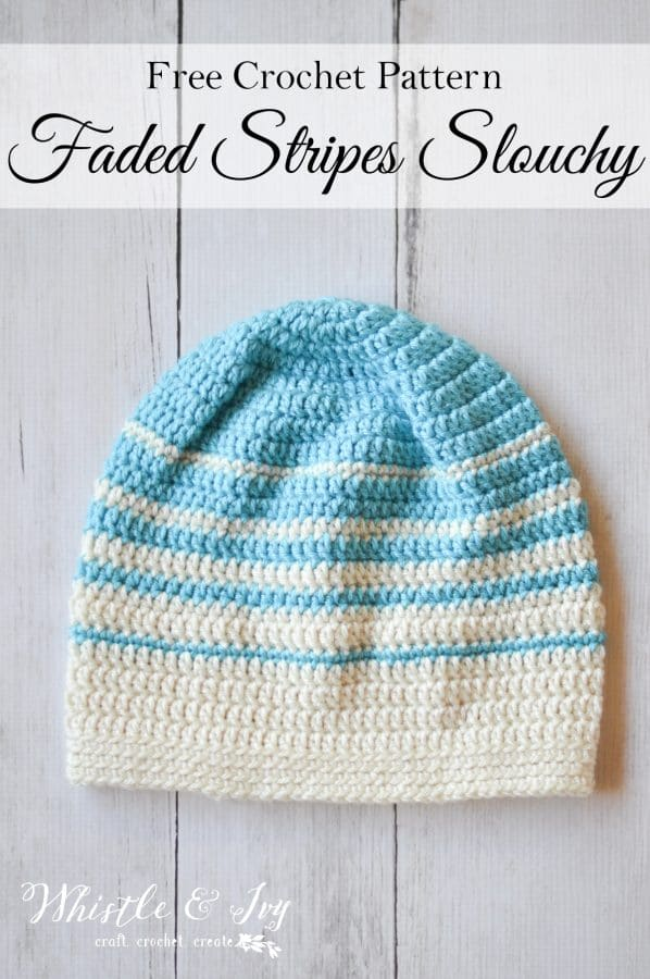 Women\'s Faded Stripes Slouchy Hat Crochet Pattern - Whistle and Ivy