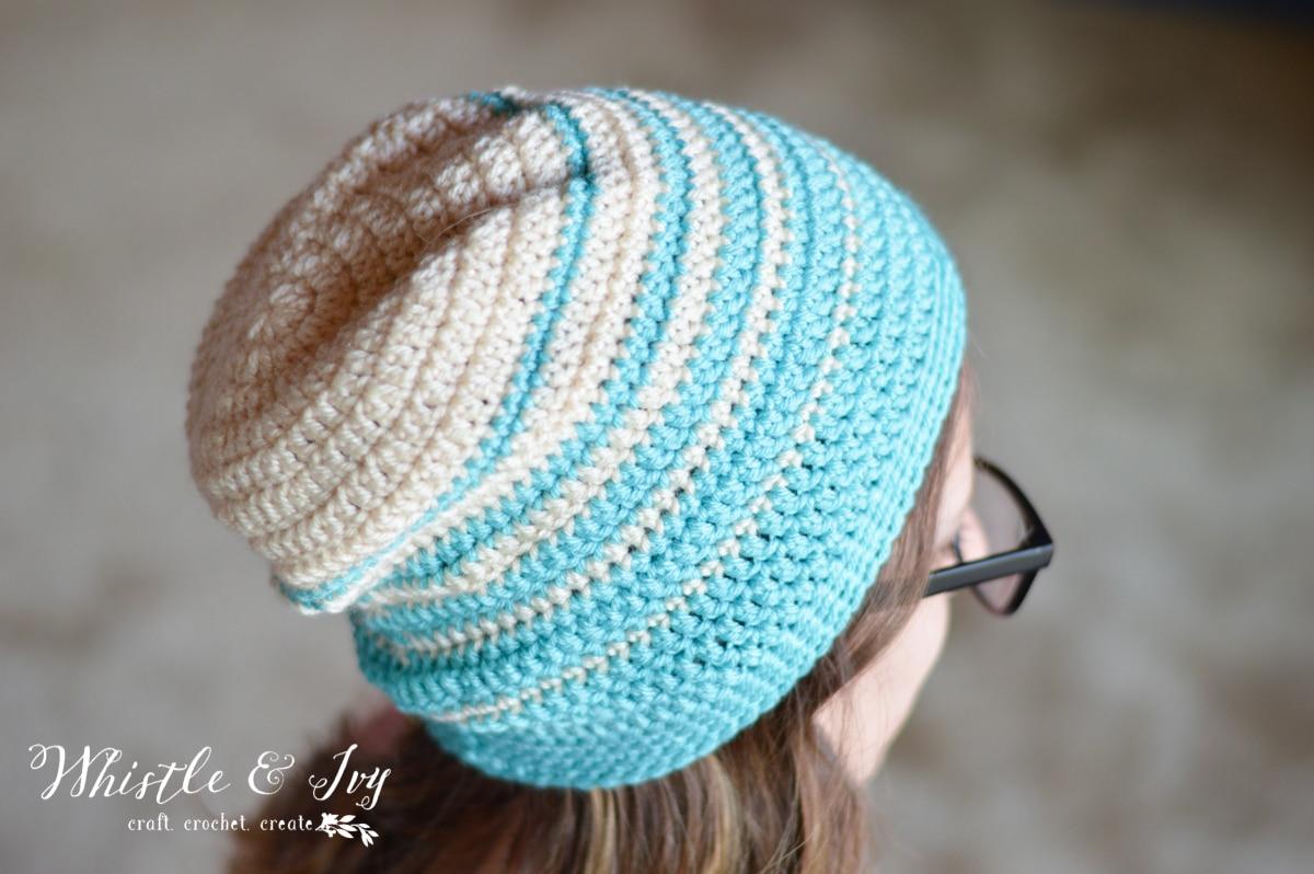 womens faded stripes slouchy hat crochet pattern
