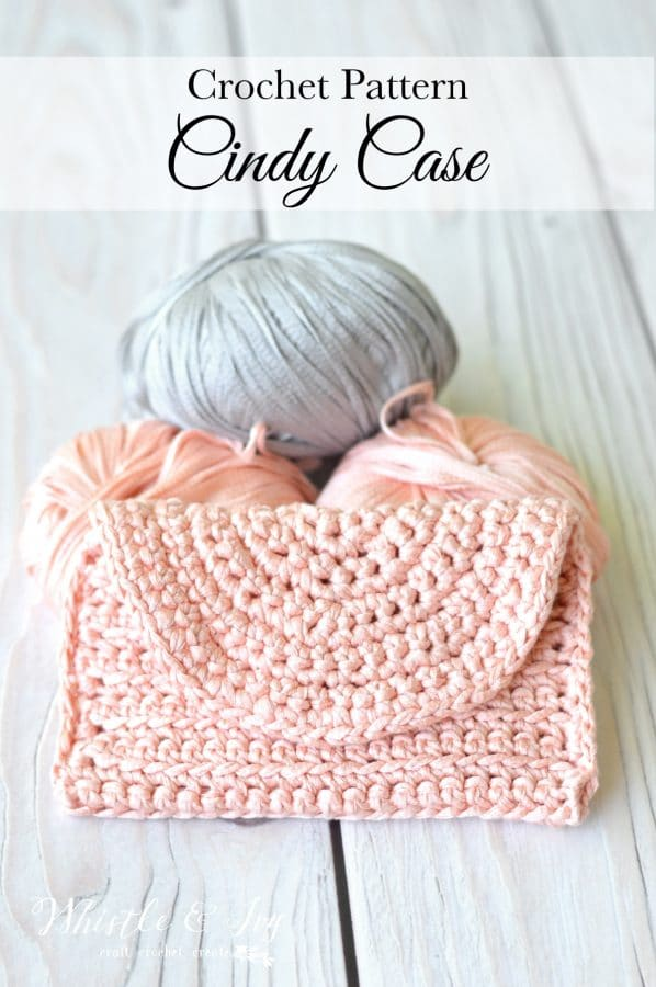 Crochet Cindy Case: Get the free downloadable PDF pattern for this trendy crochet clutch, made with vegan eucalyptus yarn!