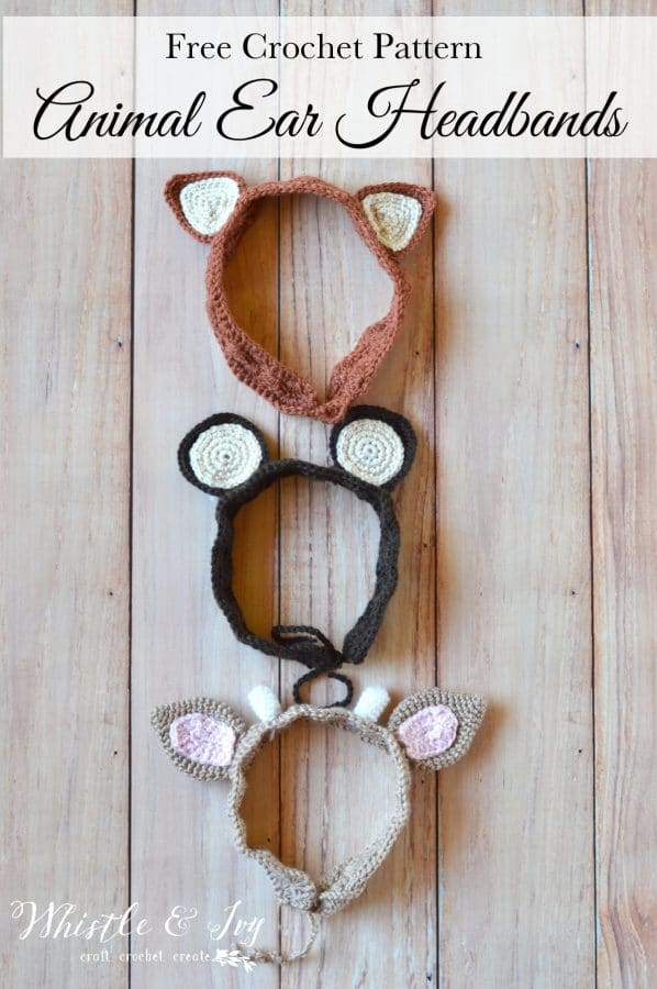 FREE Crochet Pattern: Woodland Animal Ears | These adorable crochet ears are perfect for creative play or a cute fall or summer outfit!