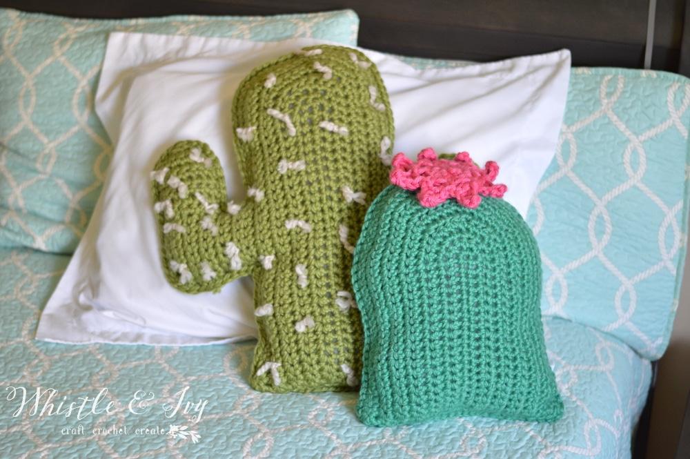 set of two crochet cactus pillows free crochet pattern