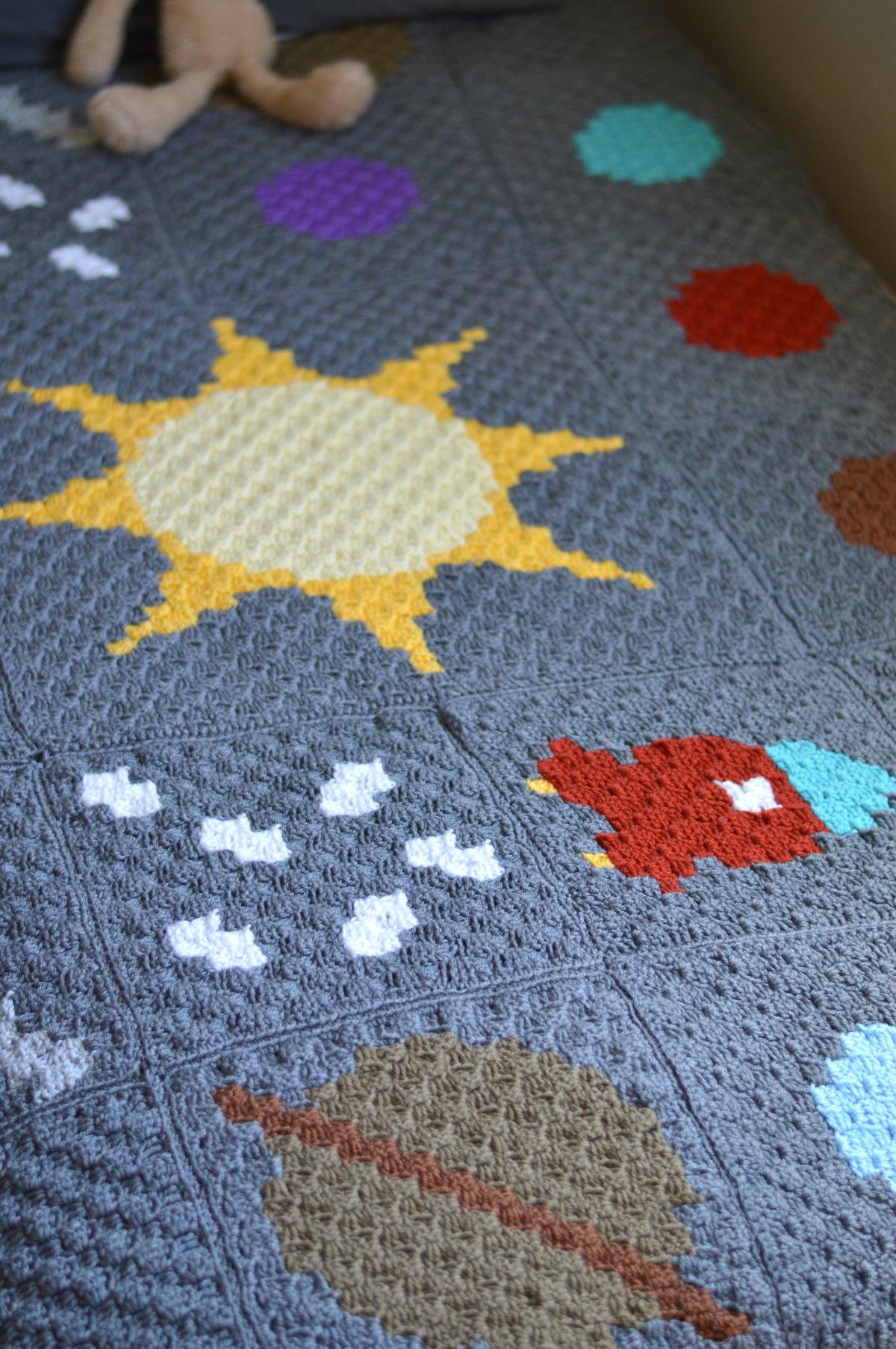 C2c Crochet Solar System Blanket Free Crochet Pattern Whistle And Ivy