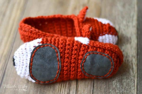 Crochet Fox Slippers - These cute woodland slippers are easy to work up and are make with two strands of yarn, so they are cozy and comfortable.
