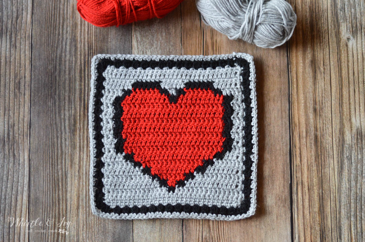 Pixel Heart Afghan Square - Whistle and Ivy