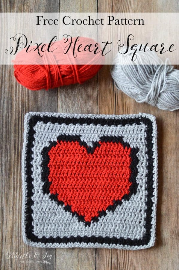 Pixel Heart Afghan Square Whistle And Ivy