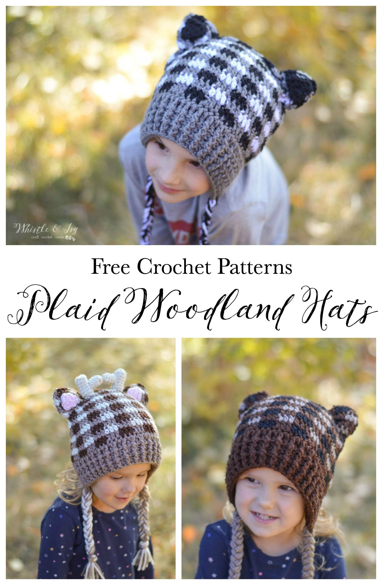 41ffd6911bf Plaid Crochet Woodland Animal Hats - Free Crochet Pattern - Whistle ...